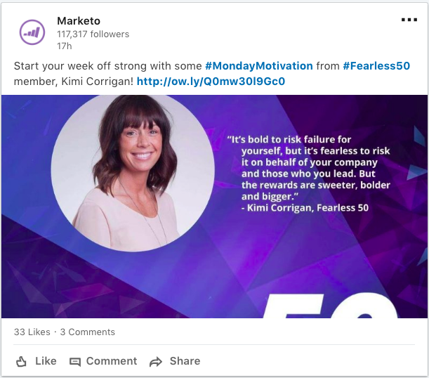 marketo created inspirational social posts