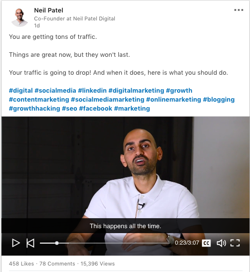 Neil Patel uses negative marketing in his social posts
