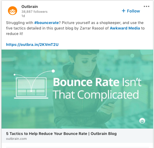 outbrain emphasized the benefits of its content in social posts