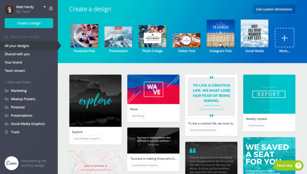 canva is one of the top social media tools for social graphics