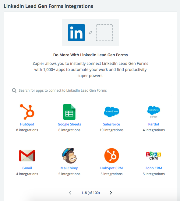 zapier integration with linkedin lead ads