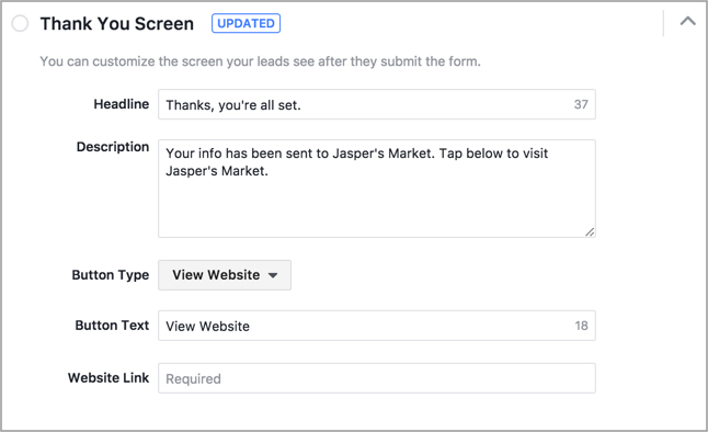 facebook lead ads thank you screen