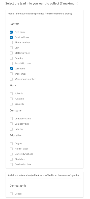 LinkedIn Lead Gen Forms Fields