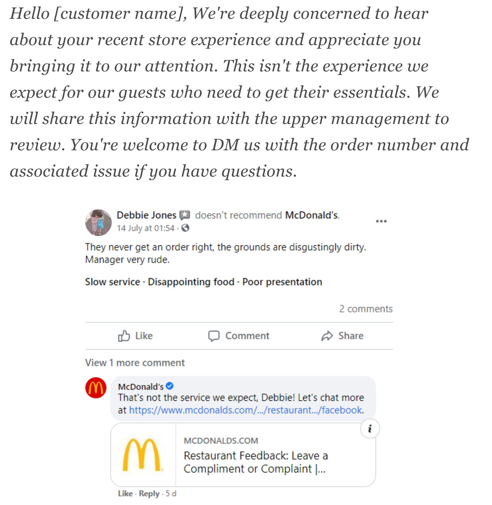 Source: https://statusbrew.com/insights/customer-service-scripts/ & https://www.facebook.com/McDonalds/