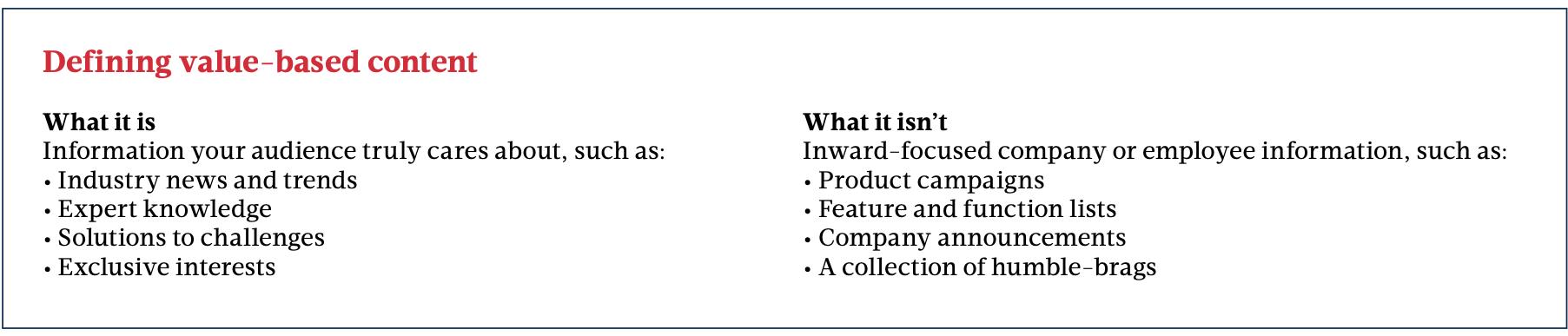 Value-drven content definition